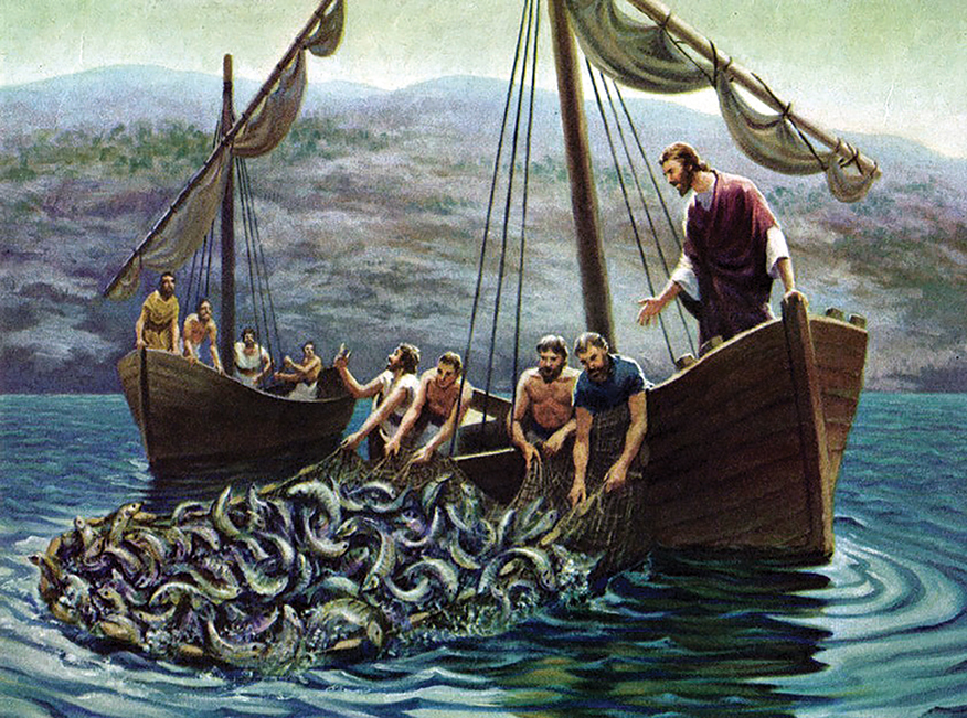 jesus fishing with peter